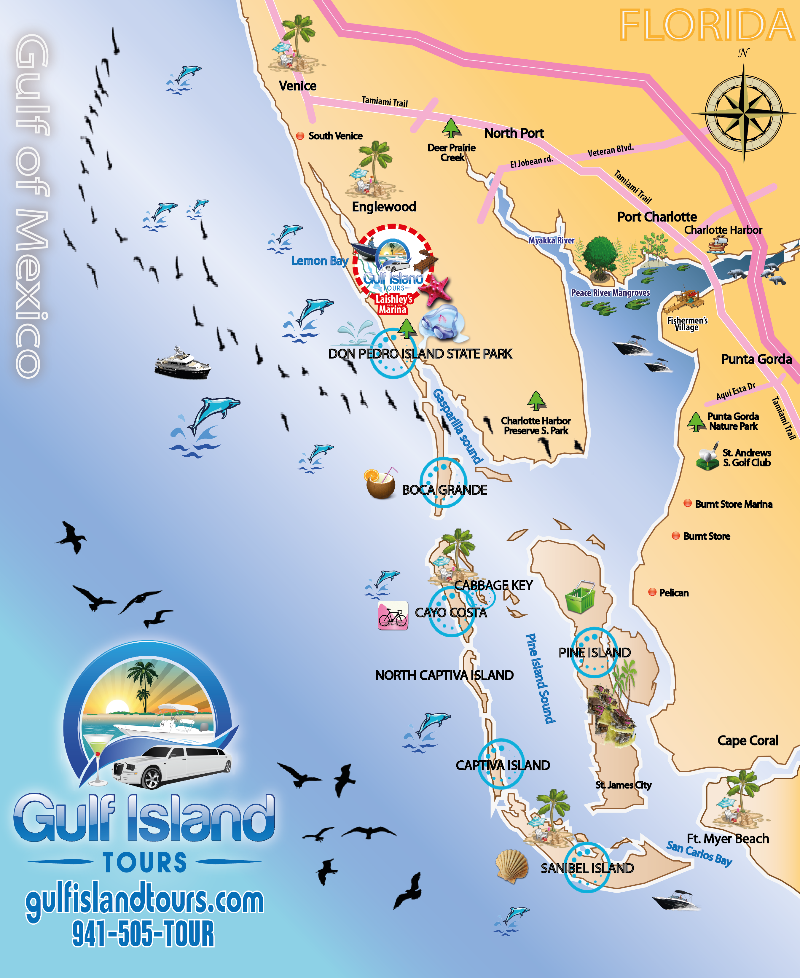 Gulf Island Tours Offers Boat Tours Yacht Charters - Florida map port charlotte